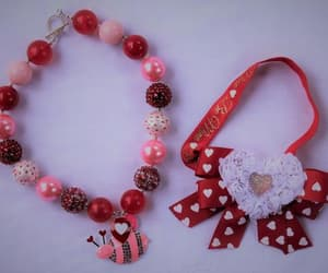 valentines day, red necklace, and bubblegum necklace image