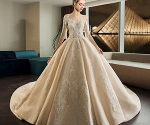 bridal, lace, and gorgeous wedding dress image