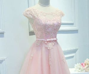 a-line prom dress, prom dress lace, and prom dress pink image
