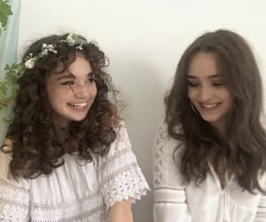 curles, flower crown, and hipster image