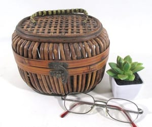 etsy, basket with handle, and lidded basket image