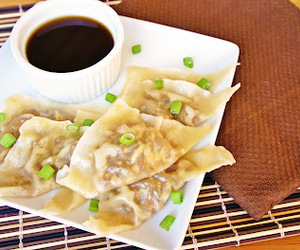 food, potstickers, and french onion soup image
