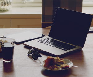 computer, drink, and food image