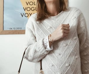 white lace blouse, chloe classic satchel bag, and zara pom pom sweater image
