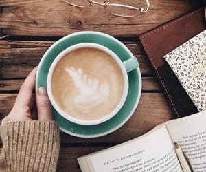 book, coffee, and coffee cup image