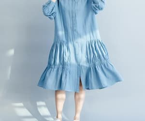 blue dress, linen dress, and casual dress image