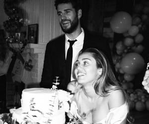 miley cyrus, liam hemsworth, and black and white image
