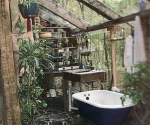 bathroom, bath, and nature image
