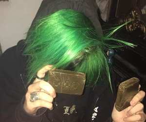 black, emo, and green image