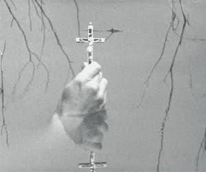 black and white, cross gif, and catholic crucifix image