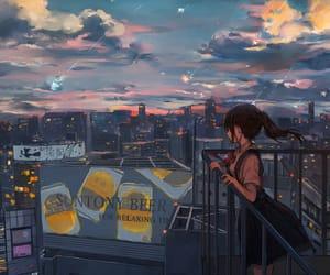 anime girl, city, and anime image