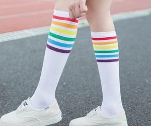 knee highs, rainbow, and socks image