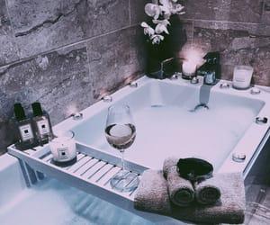 bath, purple, and towel image