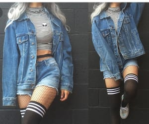 outfit, denim, and grunge image