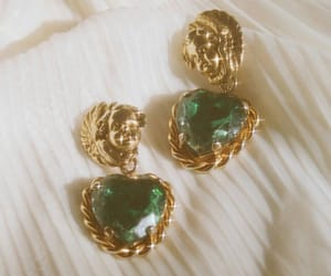 gold, earrings, and green image