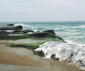 beach, green, and lagoon image