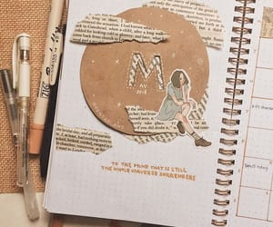 bullet journal, brown, and writing image