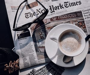 newspaper, coffee, and cafe image