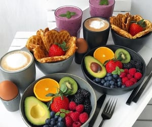 food, coffee, and fruit image