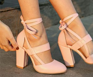 heels, pale pink, and straps image
