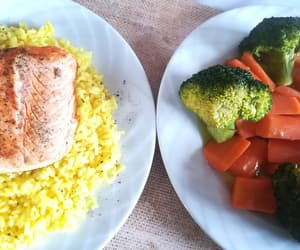 carrots, rice, and salmon image
