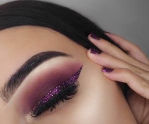 eyeliner, glitter, and purple image