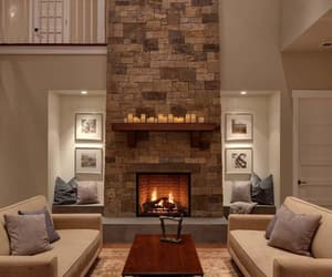 fireplace, house, and living room image