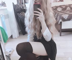brown hair, mirror, and thigh highs image