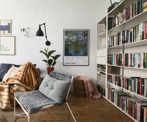 books, decor, and relax image