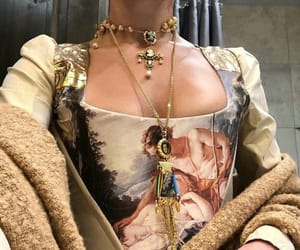art, dress, and gold image