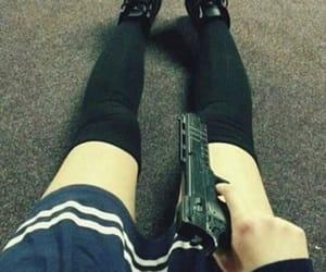 gun, skirt, and thigh highs image