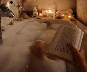 bath, book, and bubbles image