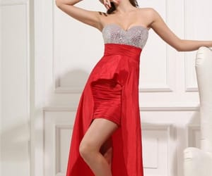 prom dresses, red prom dresses, and high low prom dresses image