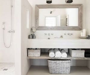 bathroom, shower, and white image
