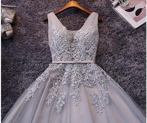 lace homecoming dresses, sleeveless prom dress, and grey prom dress image