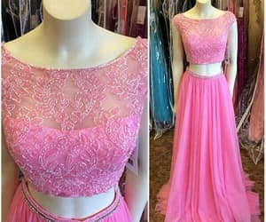 long prom dress, pink prom dress, and prom dress two piece image