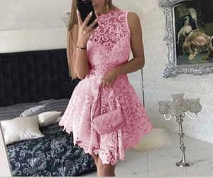 pink prom dress, short prom dress, and homecoming dresses lace image