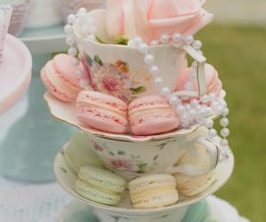 macaroons, teacups, and pastel image