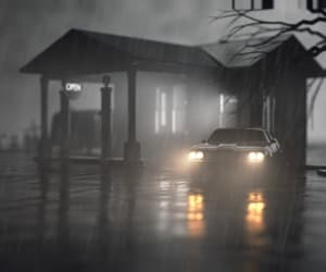car, gas station, and rain image