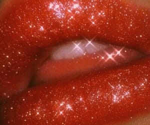 lips, red, and glitter image