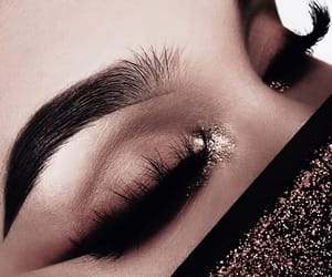 eyebrows, glitter, and eyelashes image
