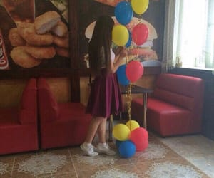 balloon, girl, and surprise image