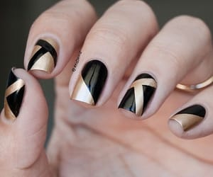 black and gold, geometric patterns, and nail art image