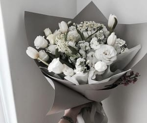 bouquet, white, and white roses image