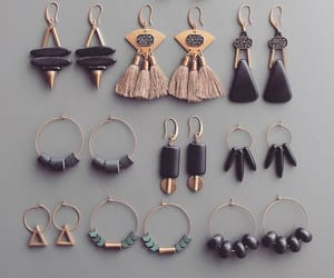 black, fashion, and earrings image