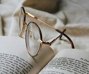 book, glasses, and love image
