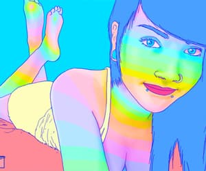 gif, rainbow, and psy image