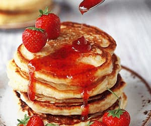 dessert, fruity, and pancake image