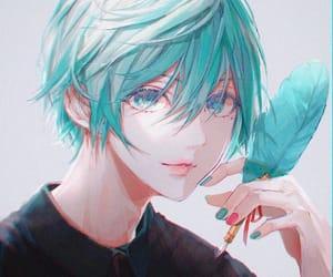 anime, blue hair, and anime boy image