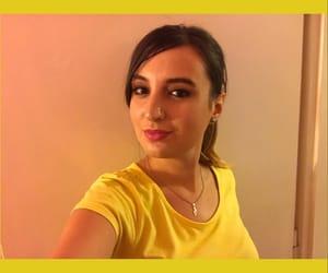brunette, eyeliner, and full lips image
